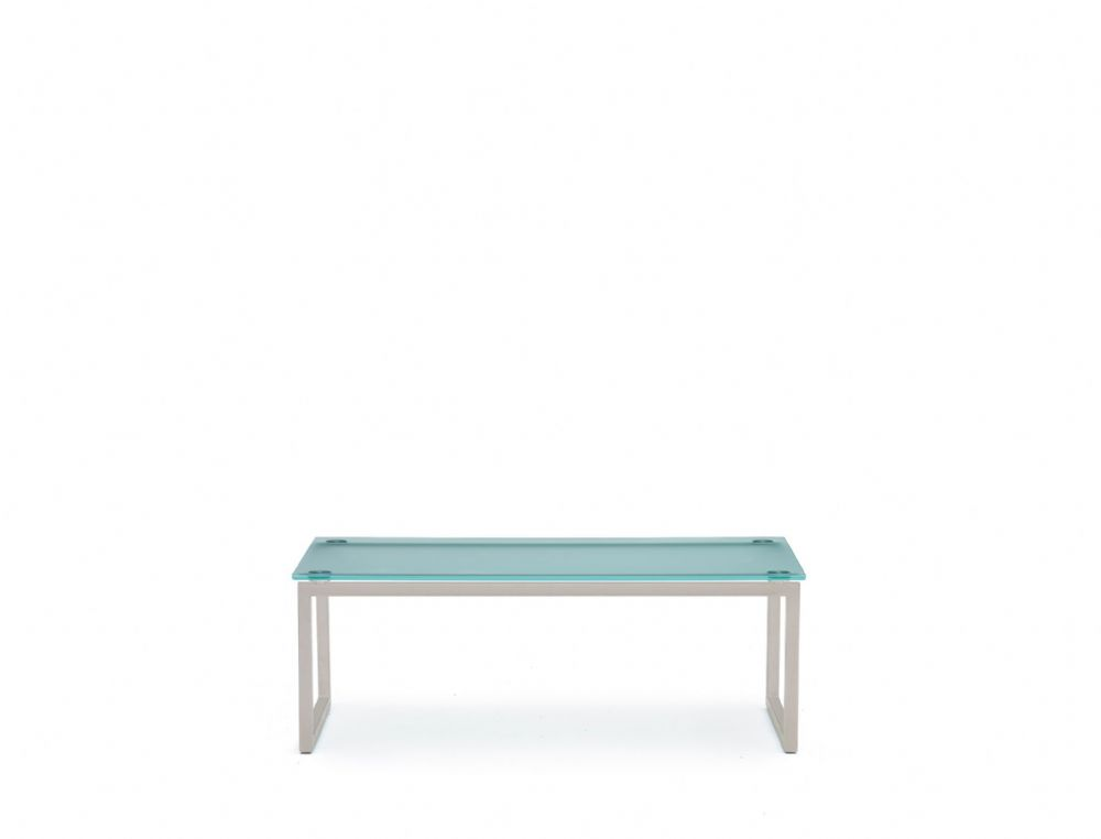 Pledge Hub Sled Base Glass Top Table With Satin Silver Frame 1200mmx500mm